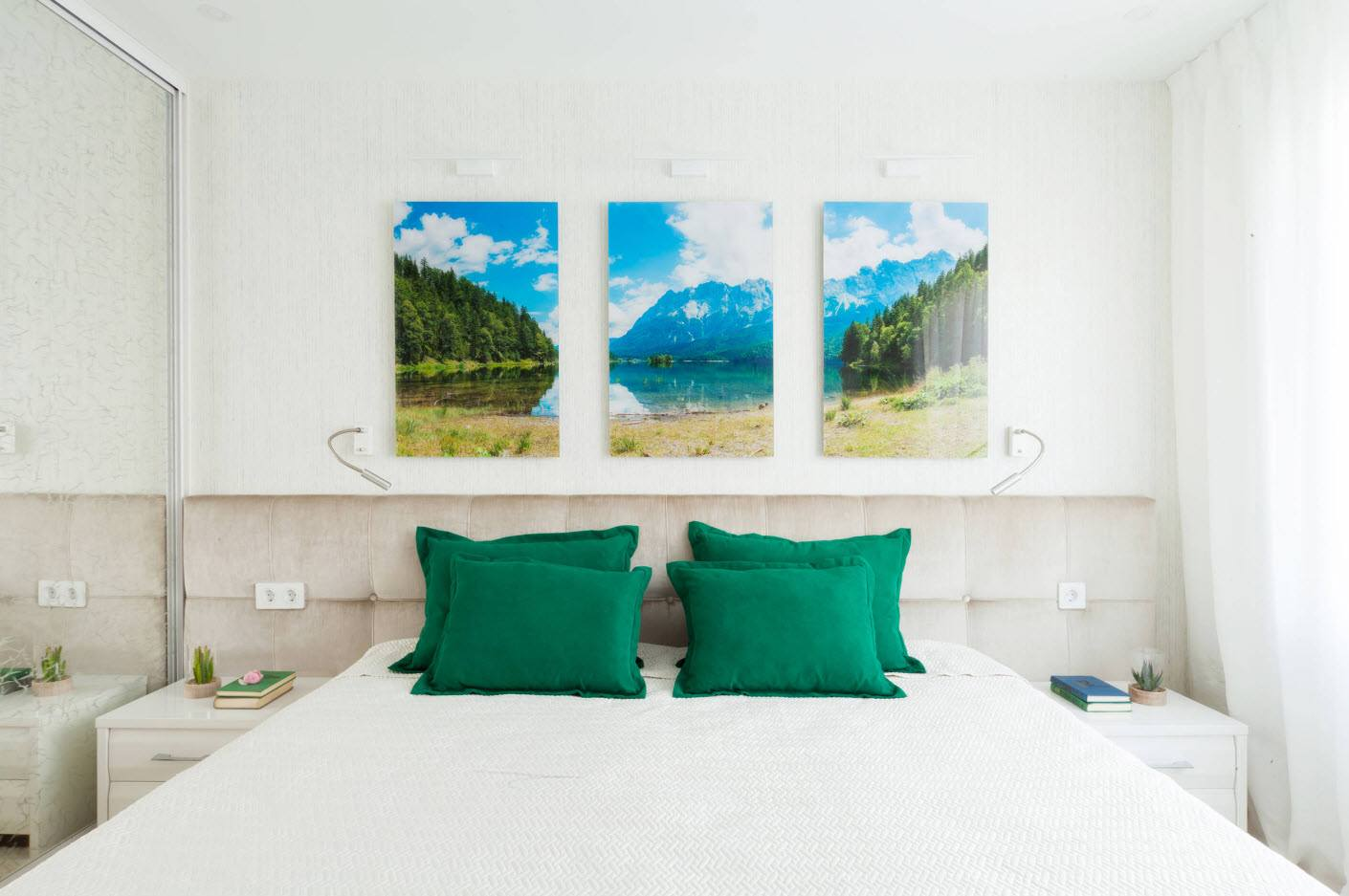 120 Square Feet Bedroom Interior Decoration Ideas. White colored room with three pictures over the headboard