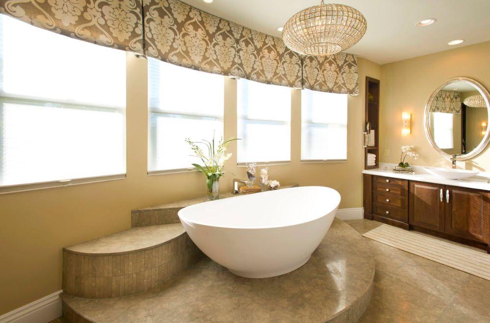 Acrylic Bathtub as the Highlight of Modern Bathroom Interior. Large bathroom in pastel colors