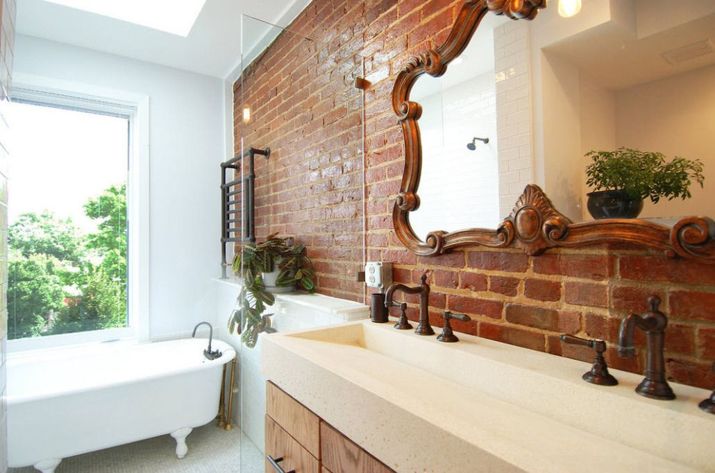 Brickwork walls with carved large mirror