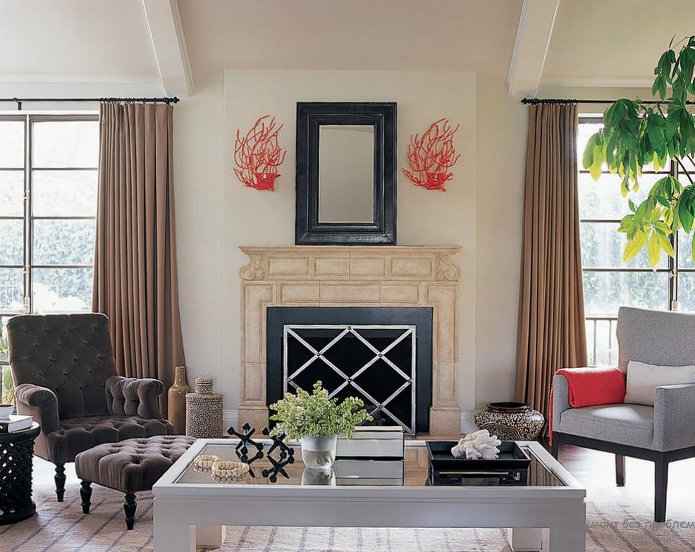 French Interior Design Style Overview. Hinged fireplace decoration and high brown curtains
