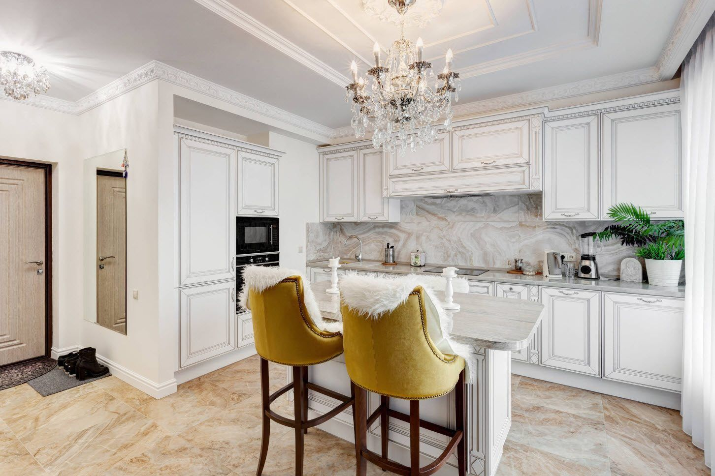 Classic kitchen interior with high-seat upholstered yellow chairs