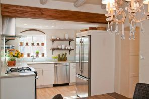 65 Square Feet Kitchen with Refrigerator. Beautiful and Functional Design. Industrial and country style mix with open beams and rough wooden shelves