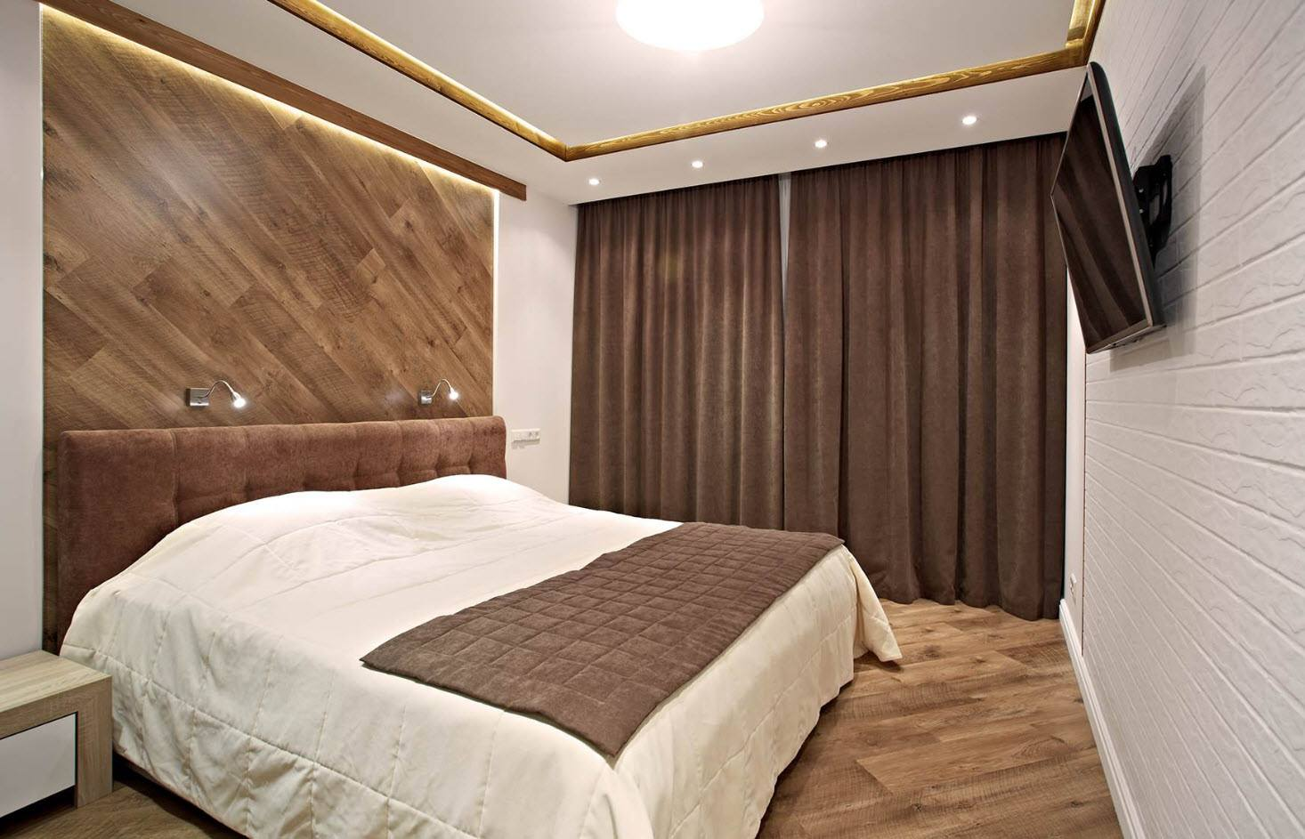 120 Square Feet Bedroom Interior Decoration Ideas. Brown designed room with white painted walls