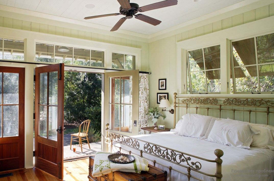 Casement windows and doors in the natural lit bedroom