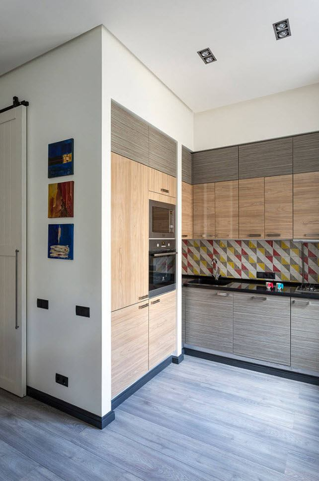 Open layout of hi-tech kitchen with functional common wall