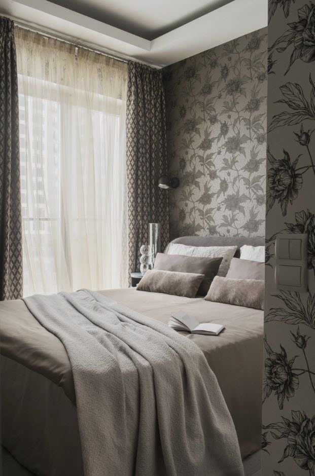 120 Square Feet Bedroom Interior Decoration Ideas. Gray wallpaper with the patters