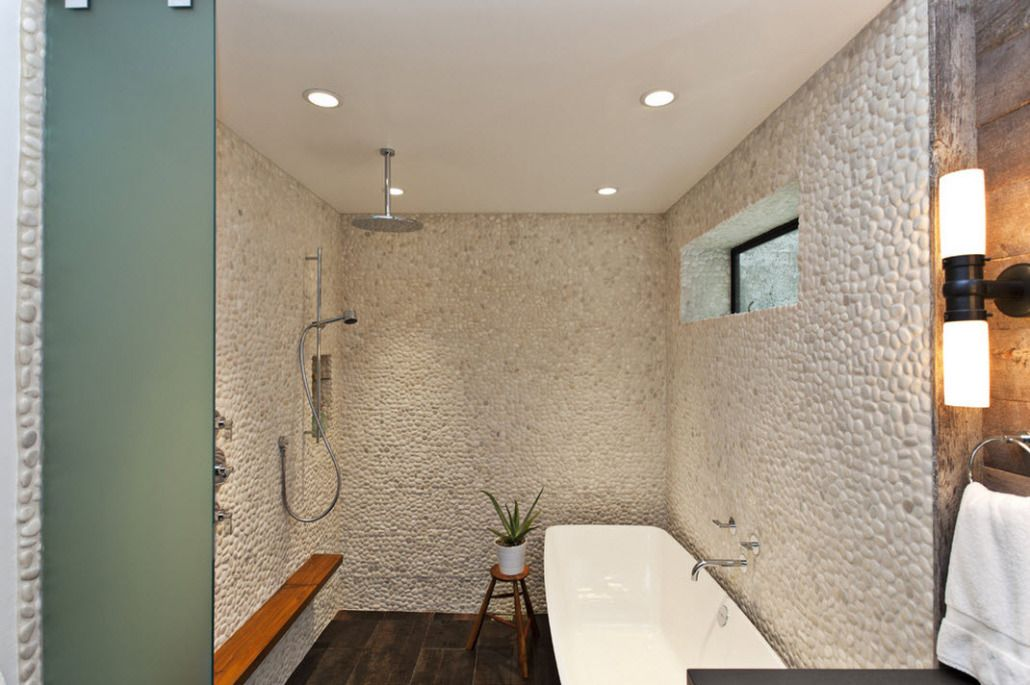 Gray stone decoration in the bathroom