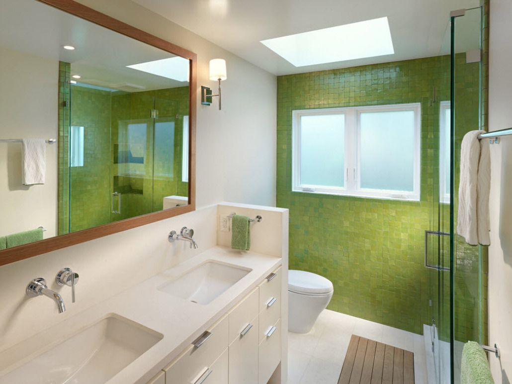 Lime colored mosaic walls