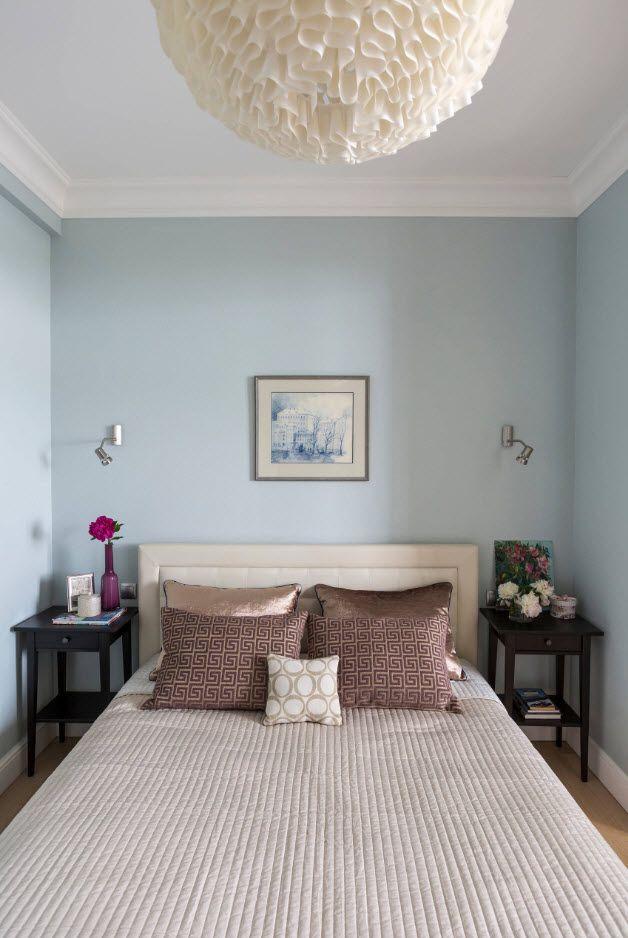 120 Square Feet Bedroom Interior Decoration Ideas. Casual mid-century interior with light blue walls and minimum decoration