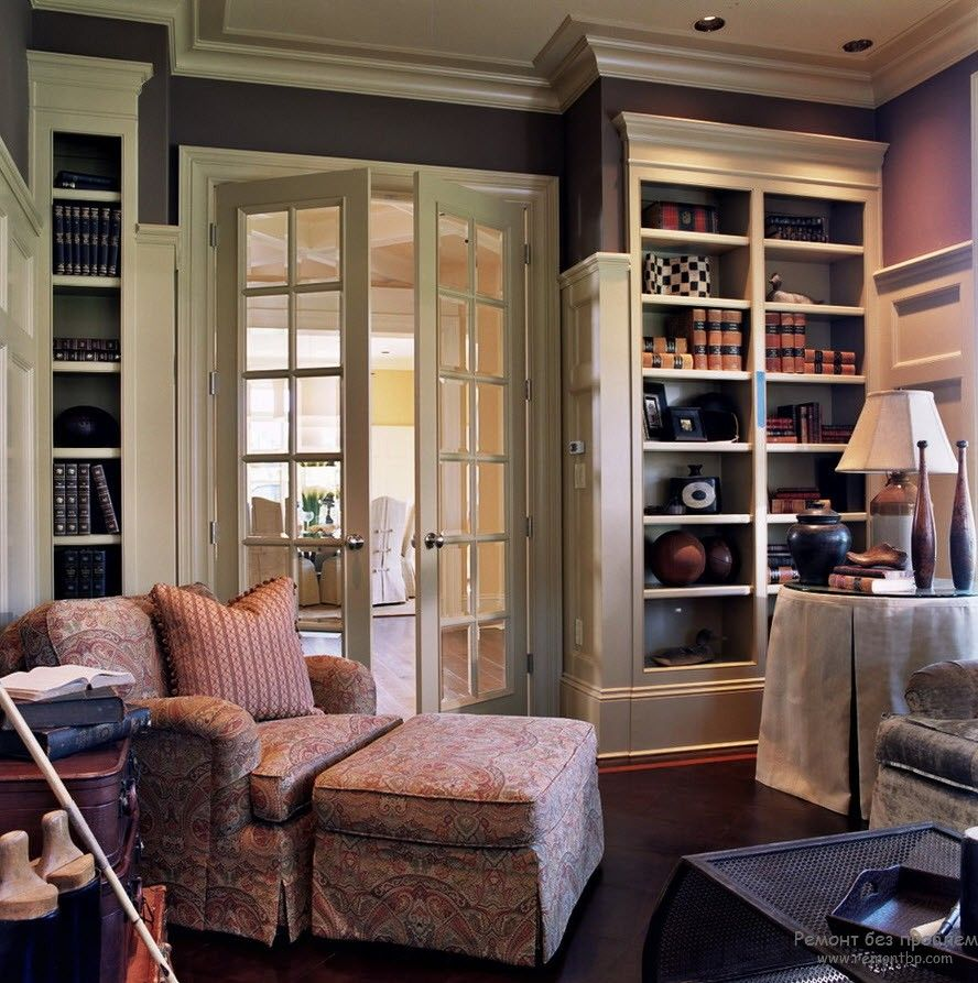 French Interior Design Style Overview. Room full of glass and wooden storage systems