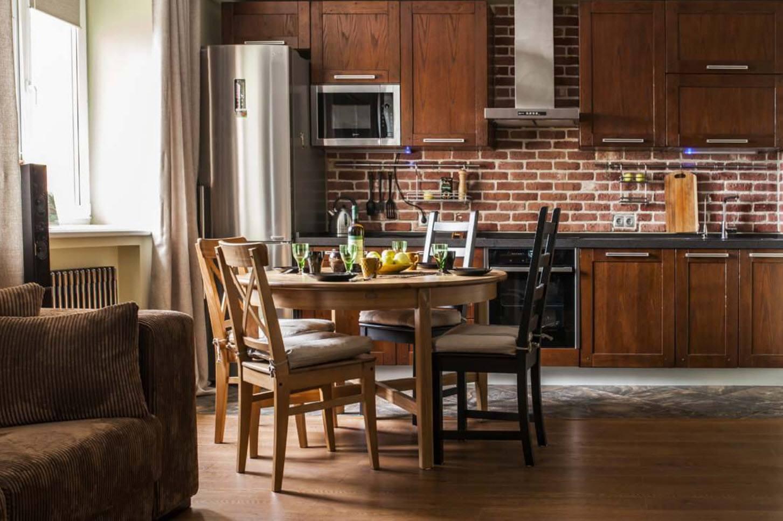 75 Square Feet Kitchen Interior Decoration Advice and Design Ideas. Brickwork splashback and wooden furniture