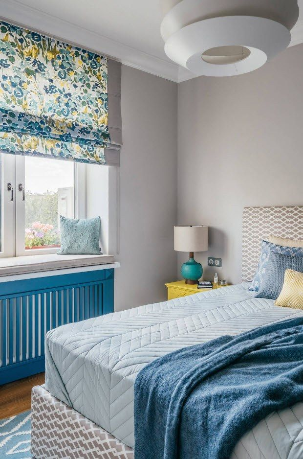 Turquoise bright design and radiator screen for 120 square feet bedroom