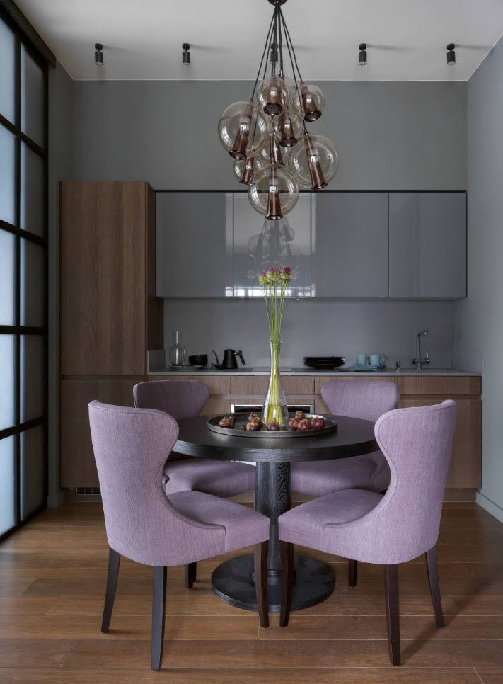 75 Square Feet Kitchen Interior Decoration Advice and Design Ideas. Pink anatomic upholstered chairs at the round table