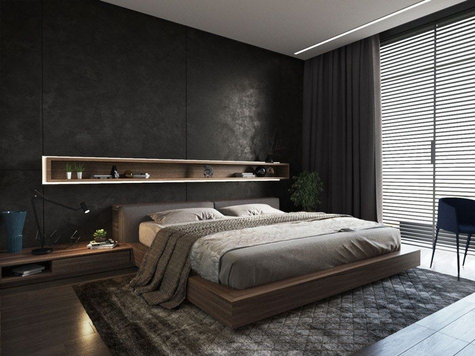 Dark accent wall and the large dark carpet for modern styled bedroom