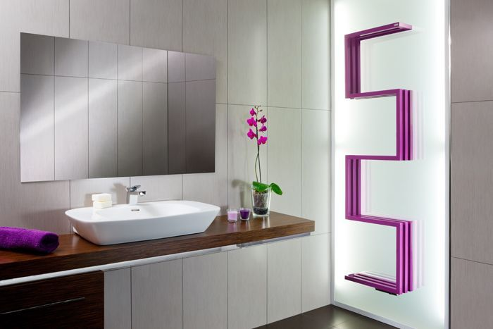 Unusual heated towel rail design and purple color