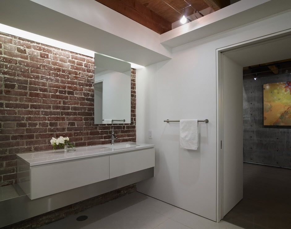 Brickwork design for modern styled bathroom with modular vanity