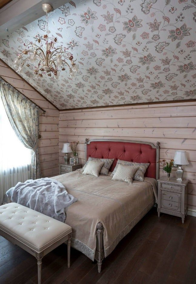 120 Square Feet Bedroom Interior Decoration Ideas. Unusual wallpapered ceiling and wainscoting walls