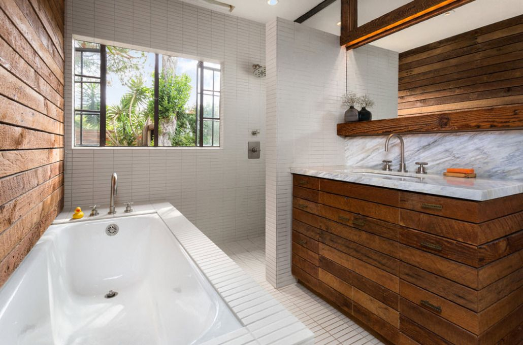 Classic bathroom design with natural materials at the seaside house