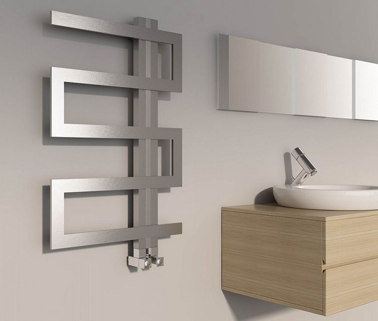 Composition made of heated towel rail in the modern Scandi interior