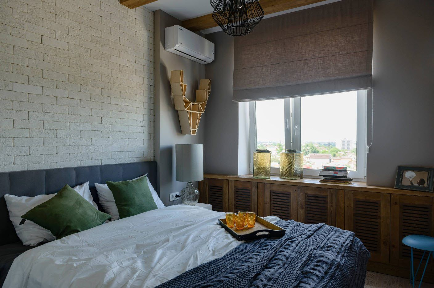 120 Square Feet Bedroom Interior Decoration Ideas. Contemporary styled room with structure wallpaper