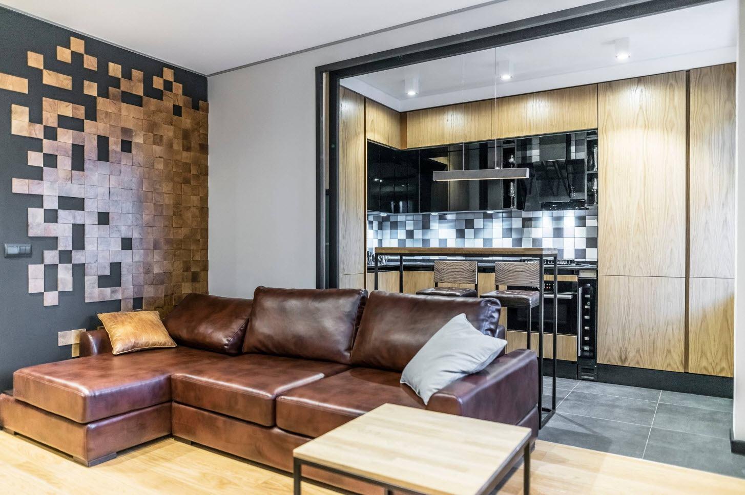 Brown upholstered angular sofa at the living zone