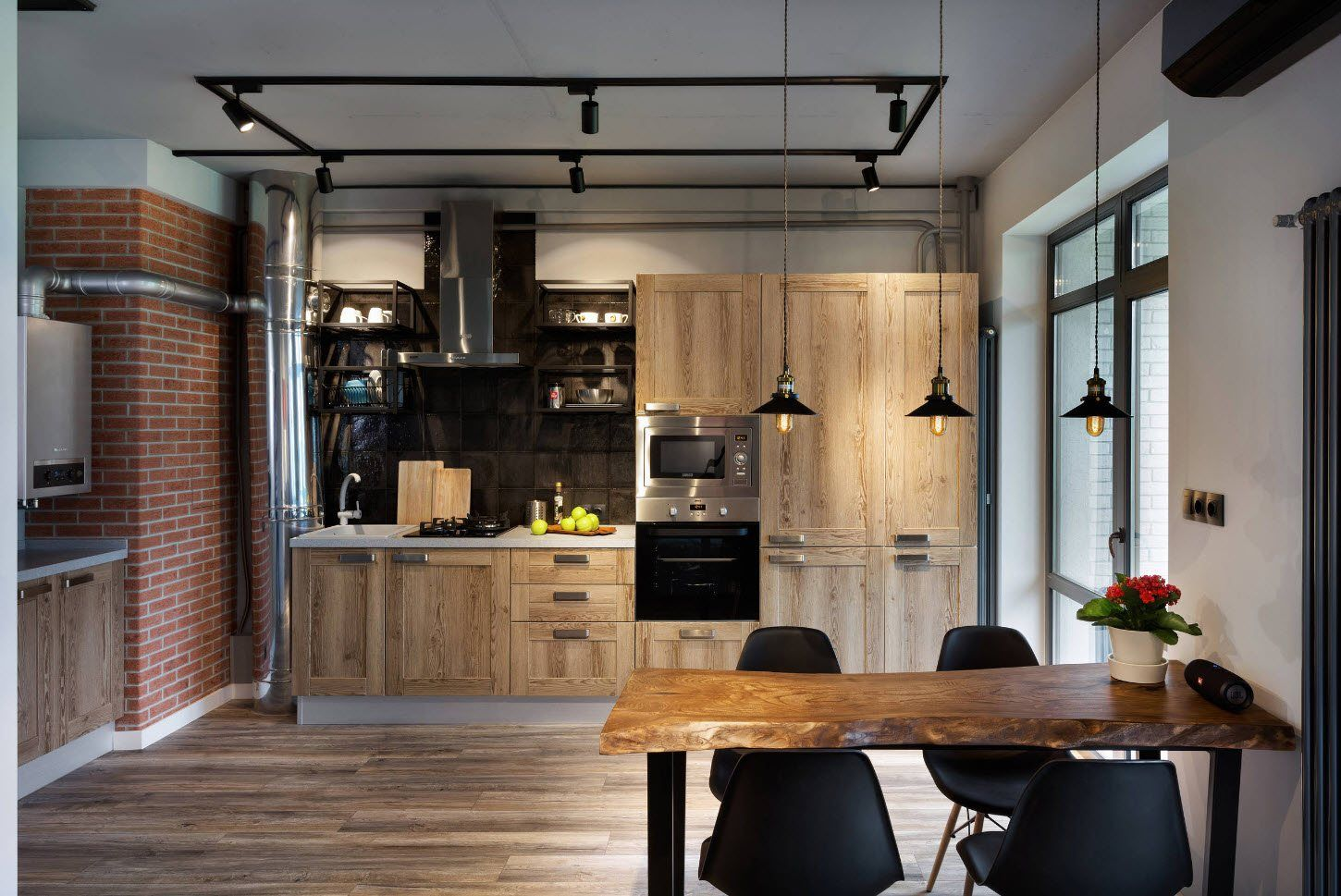 Fusion and Loft touch for modern styled kitchen with natural materials for trimming