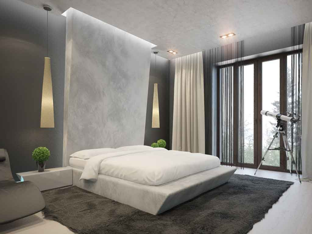 Accent false wall for impressive hi-tech designed bedroom in gray tones