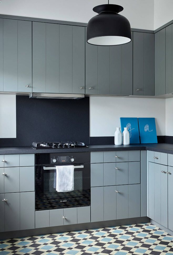 Uncommon pastel color for hi-tech styled kitchen with smooth surfaces
