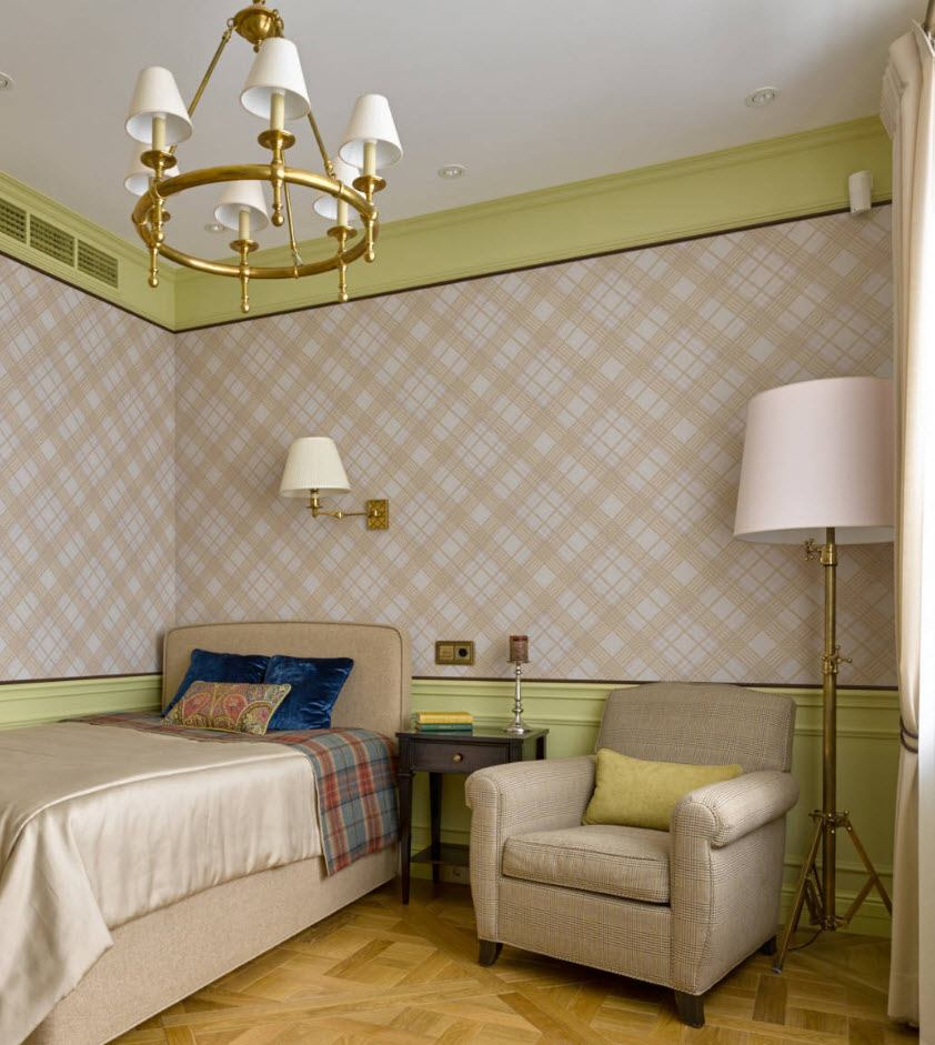 Classic design of the bedroom with checkered wallpaper and green color