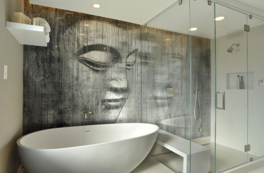 Indian Buddha motif in gray for modern bathroom with glass zoned shower cabin
