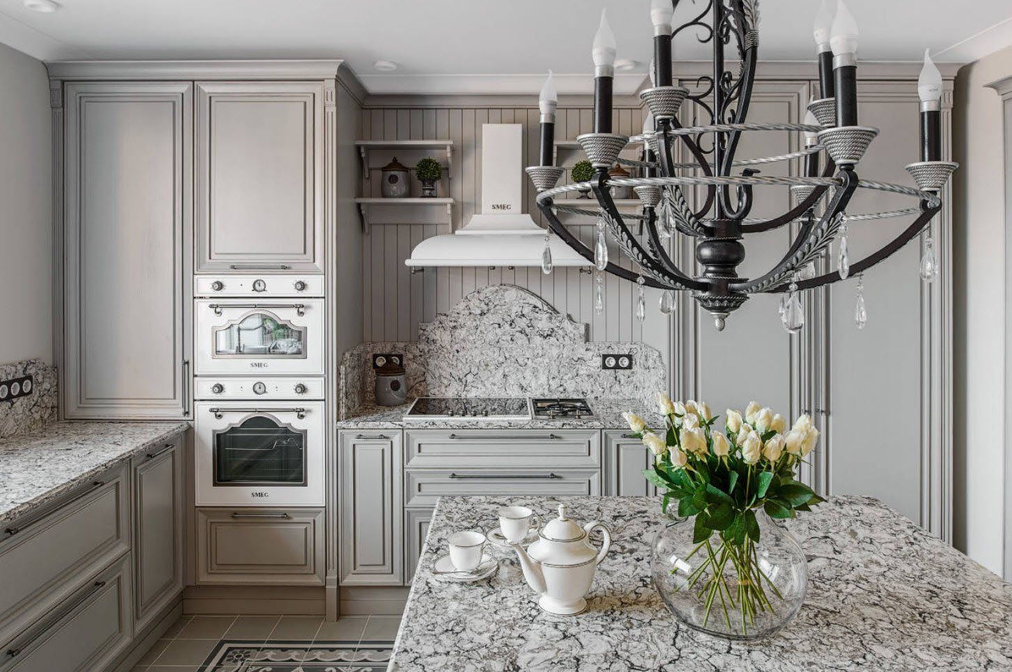 75 Square Feet Kitchen Interior Decoration Advice and Design Ideas. Classic white kitchen with carved facades