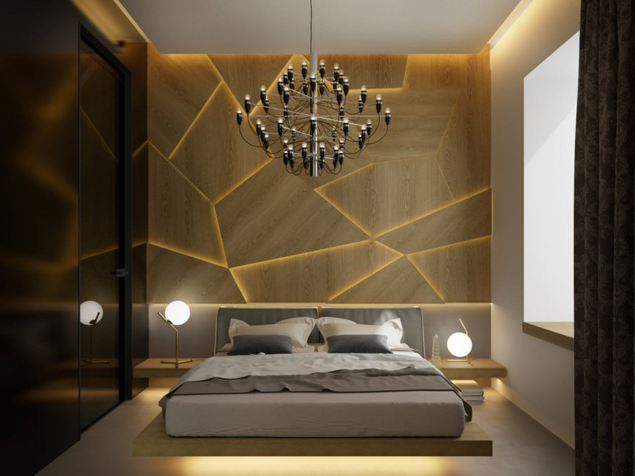 Textured dark brown headboard and the platforn floor bed in the hi-tech styled bedroom