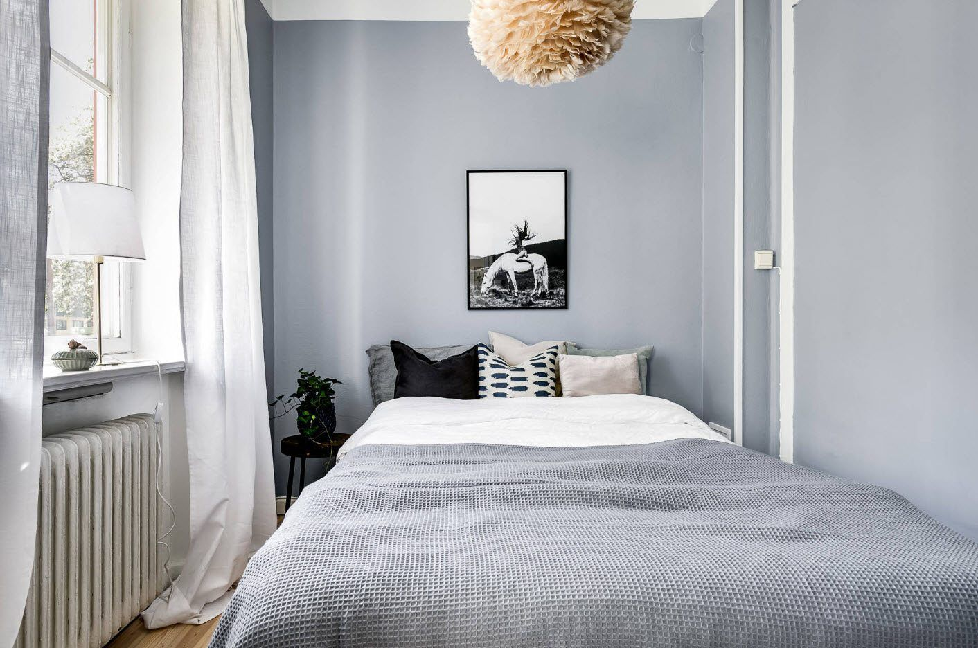 120 Square Feet Bedroom Interior Decoration Ideas. Relaxing atmosphere of the gray room with lace shade of the chandelier