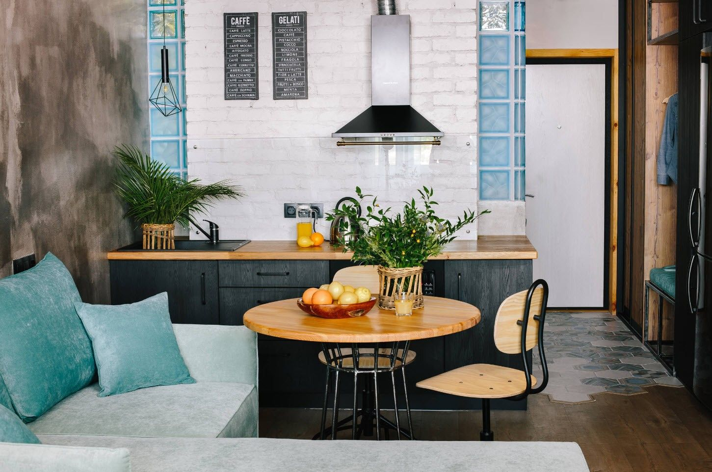 75 Square Feet Kitchen Interior Decoration Advice and Design Ideas. Nice play of color for modern interior with upholstered seating set