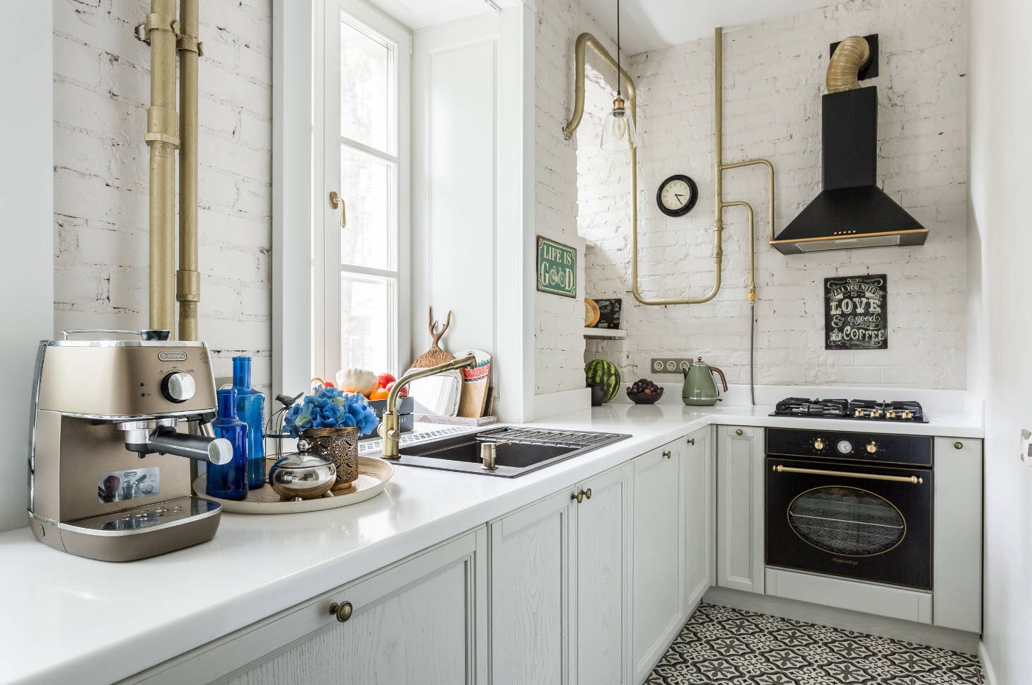 75 Square Feet Kitchen Interior Decoration Advice and Design Ideas. Introducing a little bit of Steampunk in white
