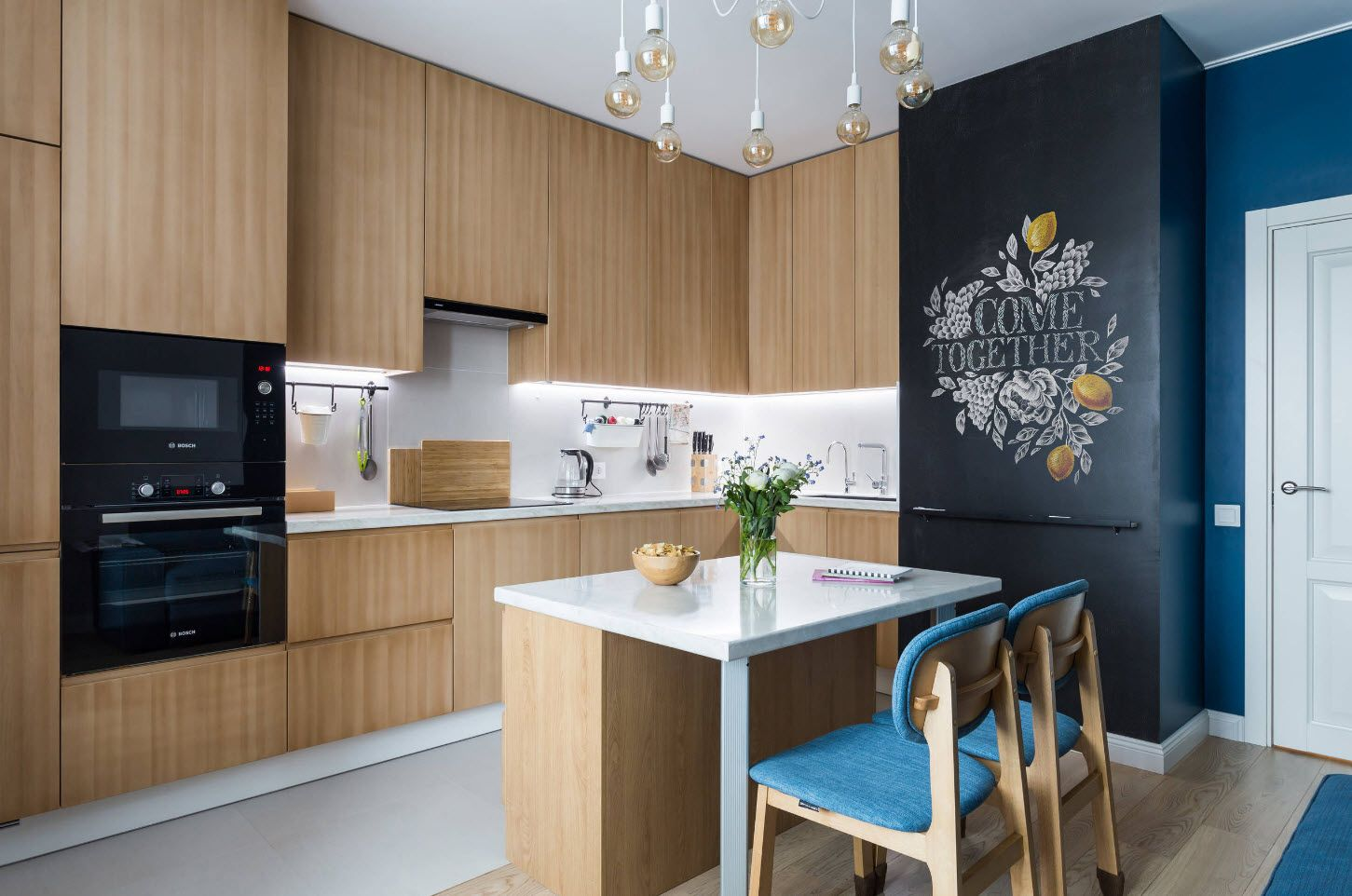 Scandi styled kitchen interior with bleached oak color for furniture