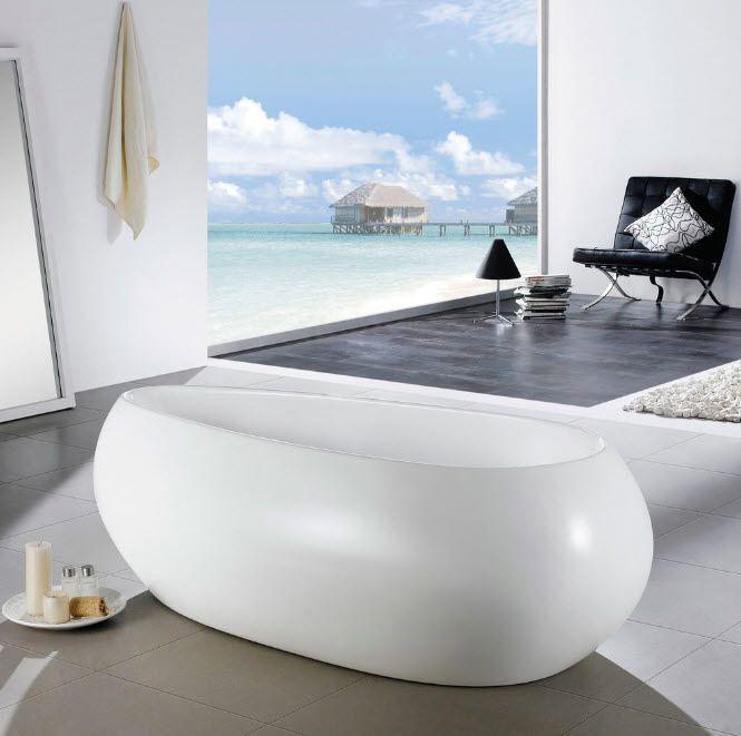 Acrylic Bathtub as the Highlight of Modern Bathroom Interior. Rocket looking oval swollen bath