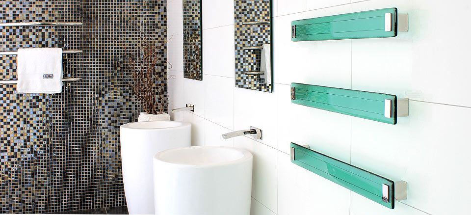 Turquoise inlays in the light designed modern bathroom with mosaic fantasy in walls