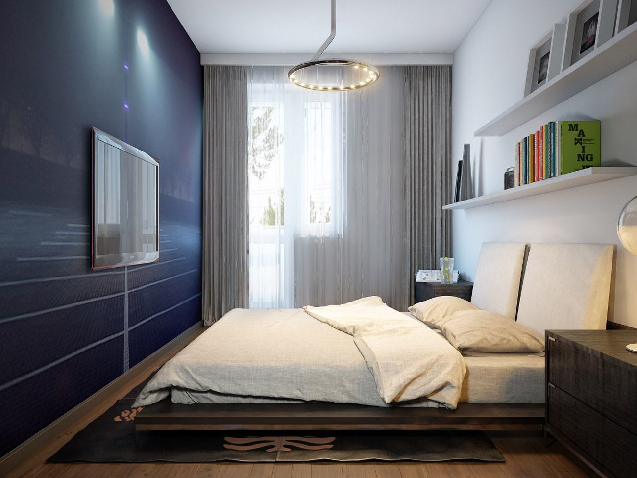 140 Square Feet Bedroom Interior Decoration: Examples for every Budget. Modern decorated area with modular wall