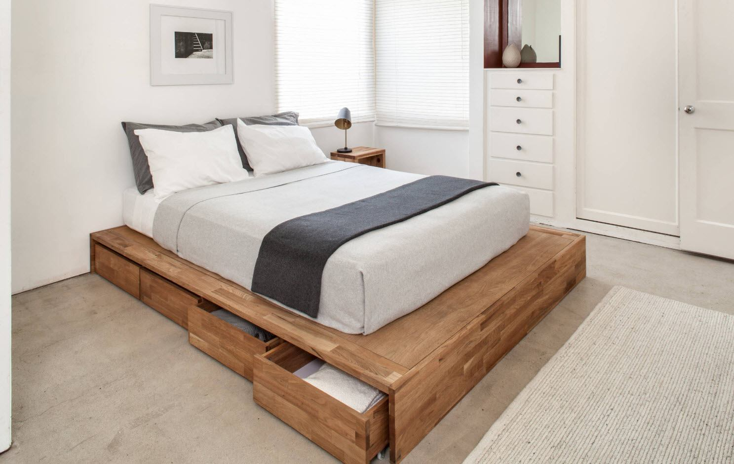 120 Square Feet Bedroom Interior Decoration Ideas. Simple modern design and bed with the storage boxes