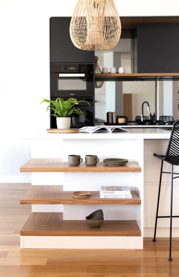 75 Square Feet Kitchen Interior Decoration Advice and Design Ideas. Open shelves of natural wood