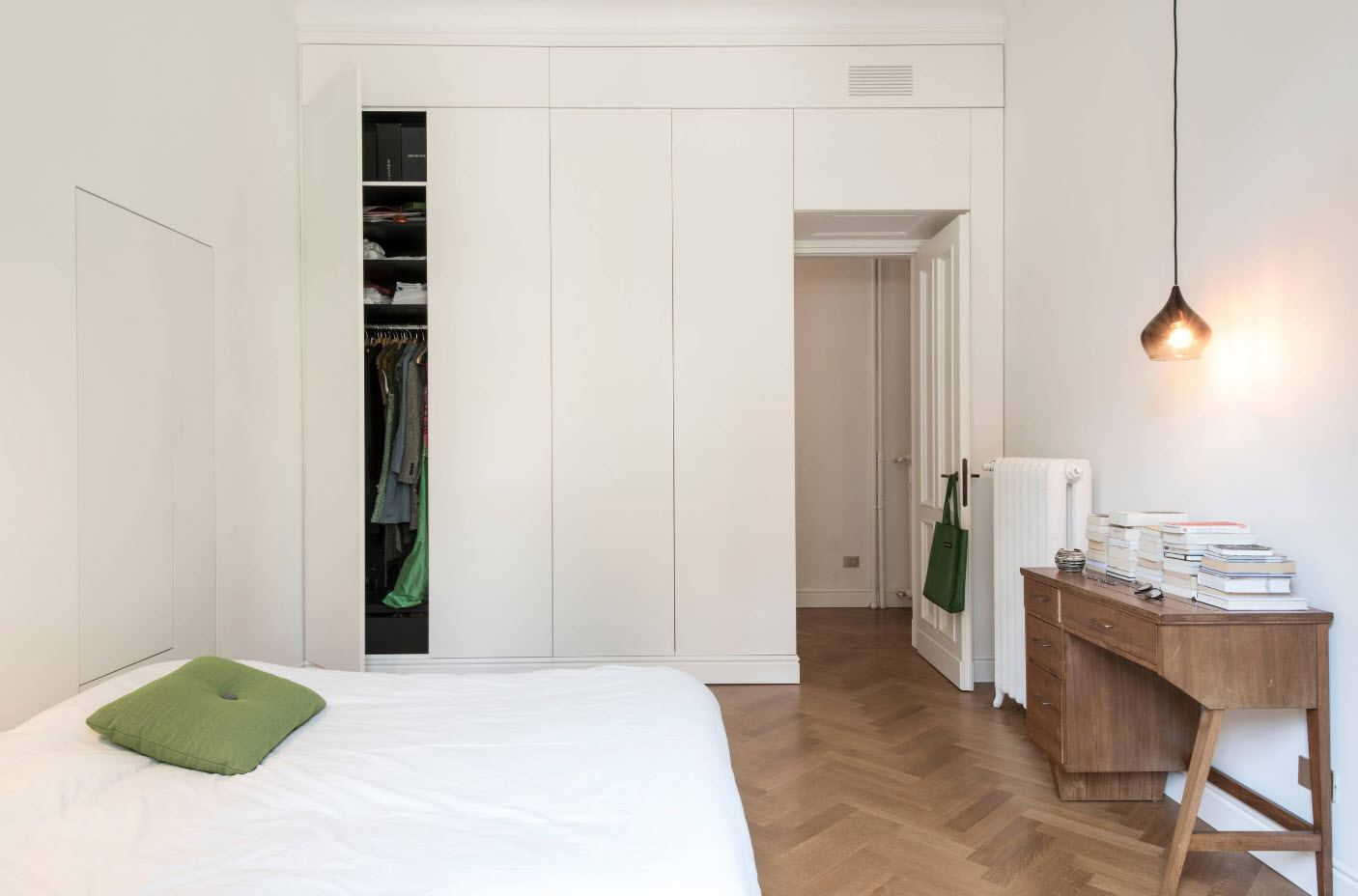 Casual creamy white bedroom with modular cabinet