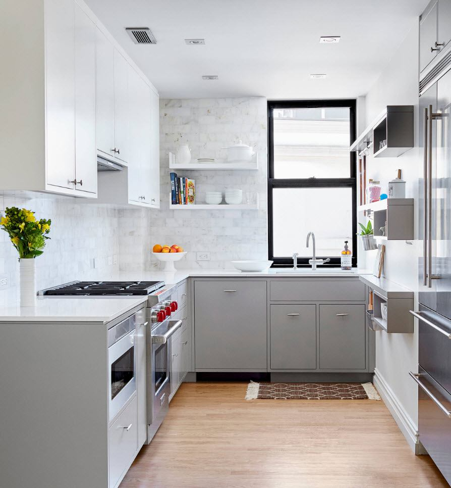 75 Square Feet Kitchen Interior Decoration Advice and Design Ideas. Gray interior for smooth and matte modular furnished space