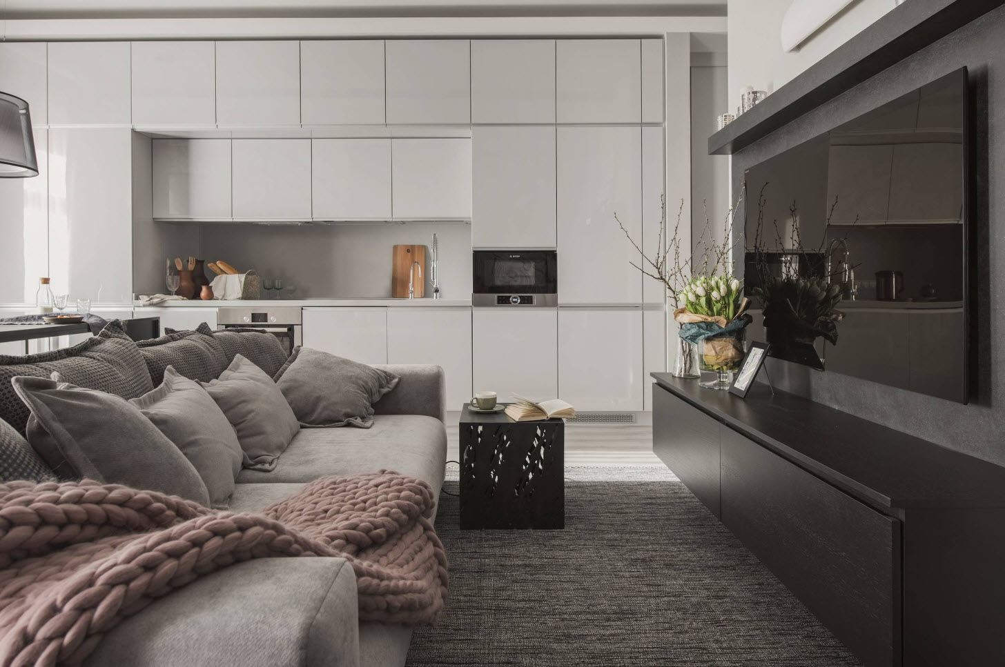 Modular furniture set at the living room with minimalistic kitchen zone