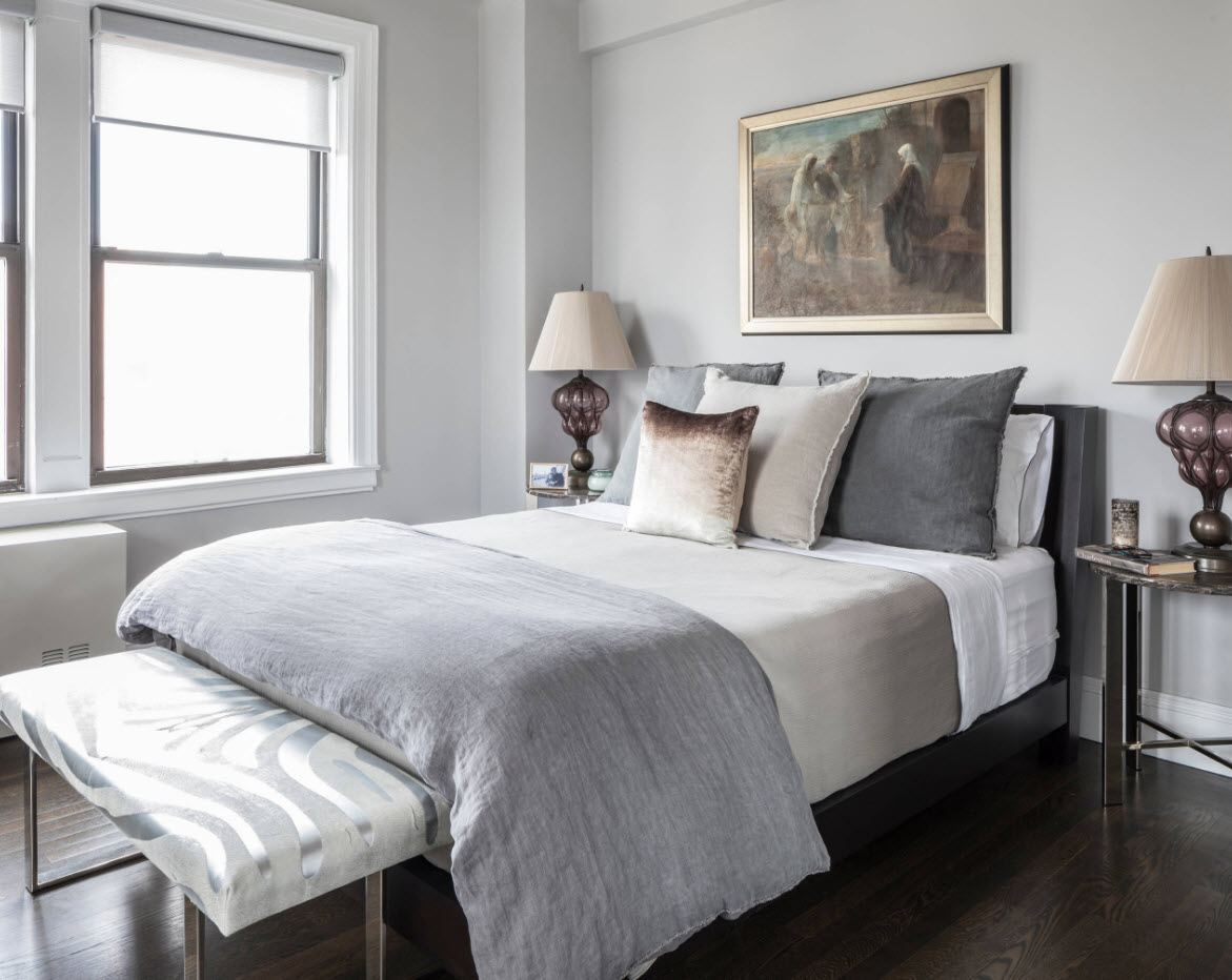 Small bedroom decoration and design in gray tones