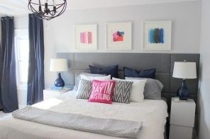 DIY Headboard Decoration: Master Classes, Stylish Ideas. Small pictures decoration and quilted gray jeans upholstered board