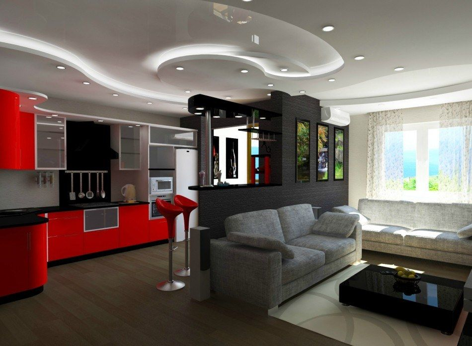 Bright streamline design for studio apartment with red accents and multifunctional set in the center
