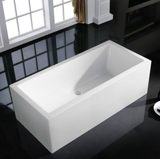 Black glossy floor and rectangular bathtub for Classic bathroom with casement panoramic windows