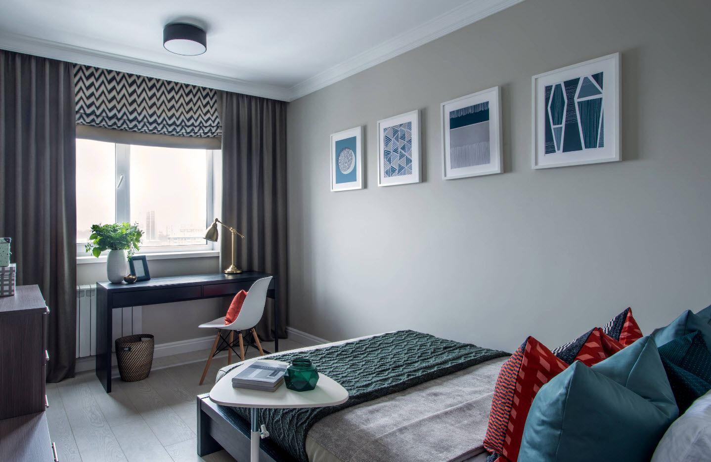 120 Square Feet Bedroom Interior Decoration Ideas. Calm interior with pictures decoration