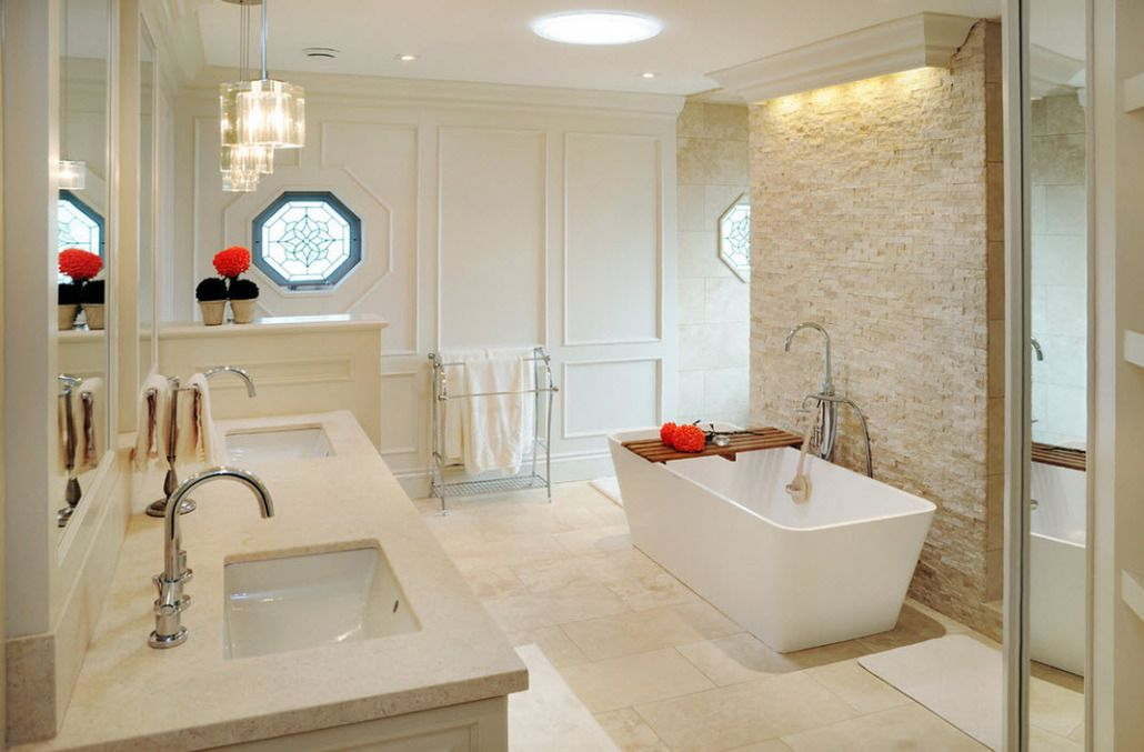 Sheathed white walls in the classic designed bathroom